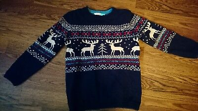 John Lewis Boys Christmas jumper uk age 6 navy blue with stags on the front.