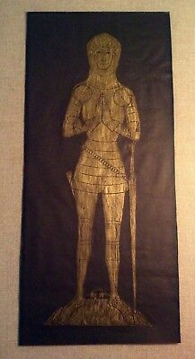 "Fine Vintage Framed Brass Rubbing, Medieval Knight~English or French~23"" x 10"""