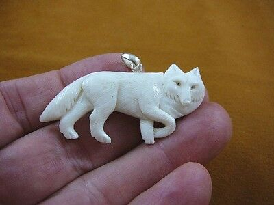 j-wolf-33 White WOLF walk aceh bovine bone carving Wolves pendant JEWELRY coyote