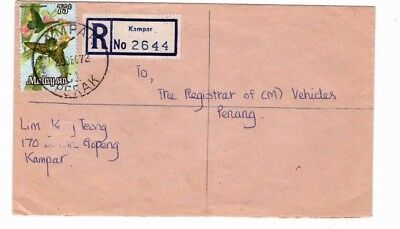 1972 Malaysia - Registered Kampar To Penang Cover From Collection 8C/3