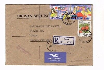 1993 Malaysia - Registered Taiping To London Cover From Collection 8C/2