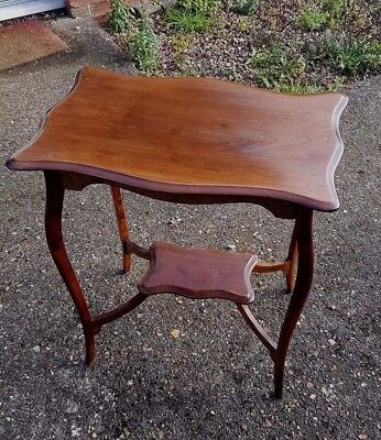 Antique Edwardian Serpentine Side Table 26 Inch Mahogany C 1910 20s