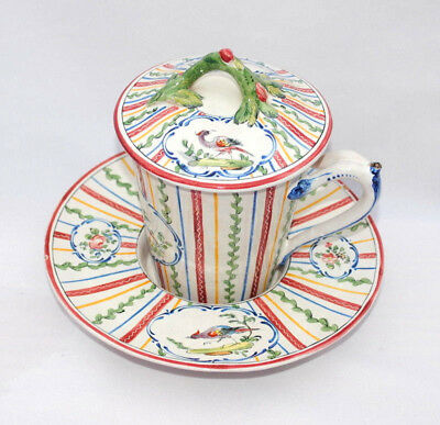 19Thc Ap Antique French Faience Chocolate Cup Cover & Stand Decorated With Birds