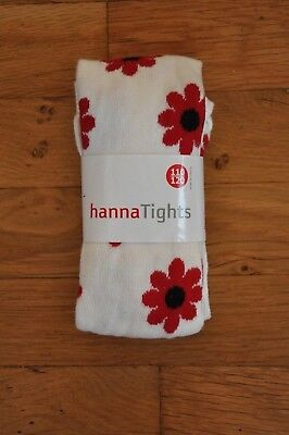 NEW Hanna Andersson Girl's Tights White w/ Red Flowers Floral Sz 110 120 US 5 6