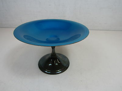 Reed And Barton 141 Silver Plate Dish On Pedestal Blue Enamel