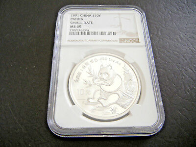 1991 Small Date CHINA Silver 1oz PANDA S10Y Coin NGC MS 69