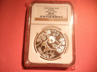 1992 Small Date CHINA Silver 1oz PANDA S10Y Coin NGC MS 69