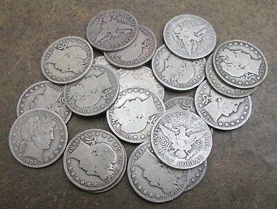 A Roll of 20 Barber Silver Half Dollars Mixed Dates Good Condition No Reserve