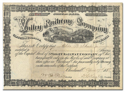 Valley Railway Company Stock Certificate (Ohio, 1888)