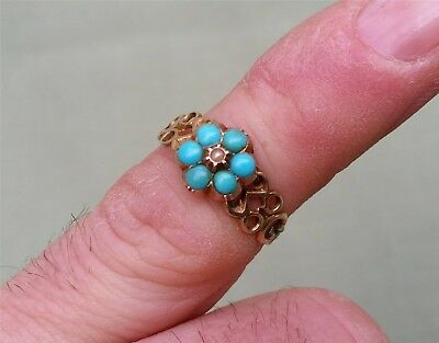Antique Gold Ring, 9ct.  Turquoise around central Pearl