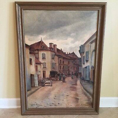 Antique 19th C. French Street Scene in Vichy France Oil on Canvas Painting