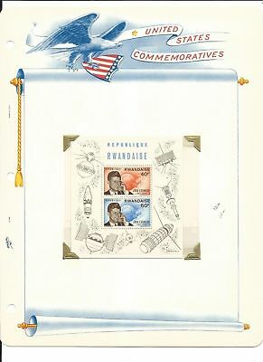 Rwanda Collection, John Kennedy on 3 White Ace Pages, Mint NH & FDC, #136