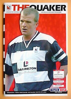2004/2005 Darlington v Yeovil Town (champions) - fa cup round 1 - 13/11/2004