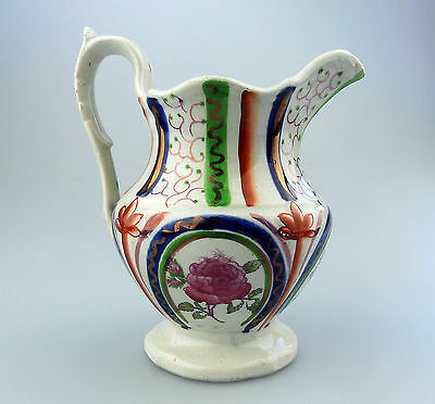 Gaudy Welsh Antique English Pottery : An unusual lustre ware Jug C.19thC