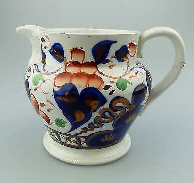 Gaudy Welsh Antique English Pottery  A Pretty Gaudy Welsh Jug 6.25 ht C.19thC