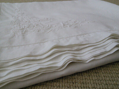 Beautiful Huge French Tablecoth Embroidered - Fine Linen White