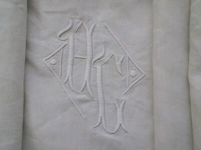 LINEN SHEET / FABRIC / TEXTILE with LARGE LADDERWORK & MONOGRAMME AG/AC/HG/HC?