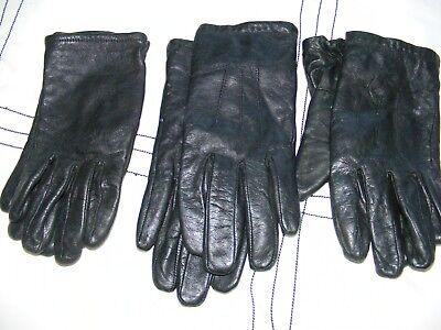 Set of 3 pairs of Vintage Ladies Classic Black Leather Gloves Size S