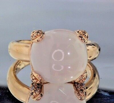 White Chalcedony and Cubic Zirconia Fashion Ring