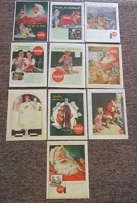 10 Coca-Cola Newspaper Ads Clippings.Look & Life Magazines.1940's 50's.Christmas