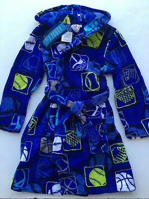 NEW Komar Kids Size 7/8 Sports Boys Pajama Sleep Robe Winter Warm Blue Bath