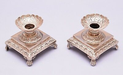 Antique Pair Of French Sterling Silver Candlesticks. Circa 1830