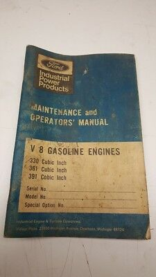Vintage Ford Maintenance and Operator's Manual V-8 Gasoline Engines Manual
