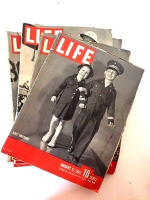 Vintage Collectible Life Magazines lot of 9 1940's WW2 Era