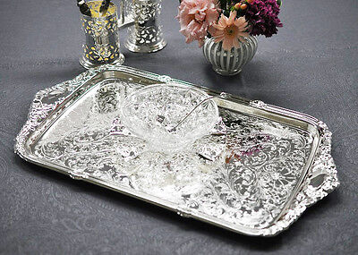 Queen Anne Silver Plated Oblong Tray Integral Handle-CHRISTMAS GIFT
