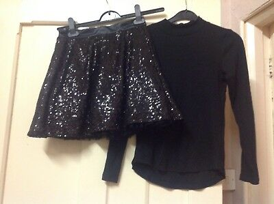 Girls sequin age 11-12 party christmas skirt & H&M top
