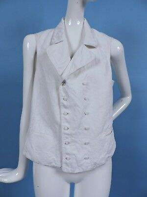 1820'S Men'S Textured White Cotton Double Breasted Waist Coat Vest