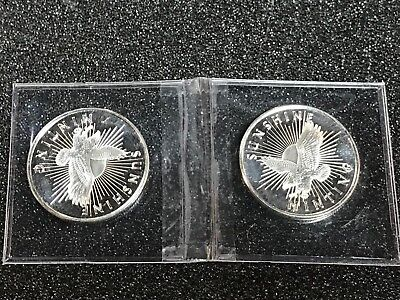 Two 1/2 Oz.999 Fine Silver Eagle Round Coin Sunshine Minting Half Troy Ounce