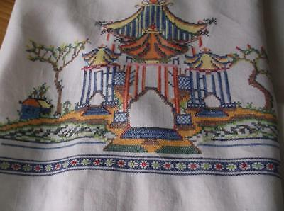 ~ Vintage TABLECLOTH~ Cross Stitch Embroidery ~ Chinese Pagoda~