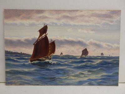 REALLY old PAINTING oil SEA SAIL BOATS signed