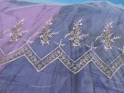 Victorian 19Th C Lame Embroidered Silk Illusion Fabric For Dress