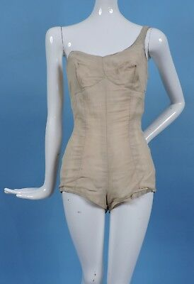 Vintage 1940'S Bathing Suit Style Burlesque Costume Base W Zipper Rear