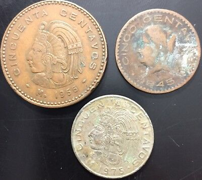 Lot 3 Vintage Mexican Centavos Coins 1945 1956 1975, Old Foreign Money Currency