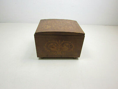 Vintage Marquetry Wooden Musical Pen / Pencil Box With Bird Patterns