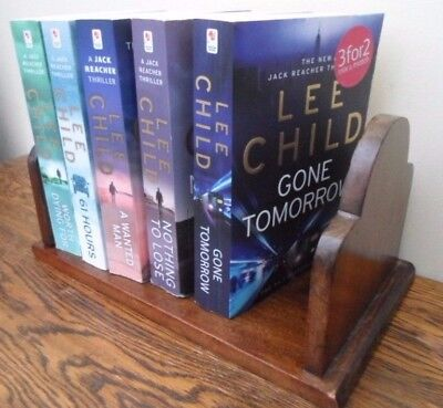Vintage solid wood book trough shelf, open back, DVD CD storage windowsill
