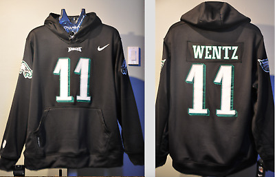 new concept b883c 7c4a1 CARSON WENTZ EAGLES NFL Jersey Hooded Sweatshirt Embroidered Hoodie 3XL