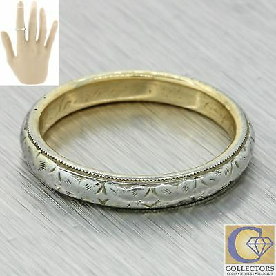 1920s Antique Art Deco 18k Yellow Gold Platinum 3mm Wide Wedding Band Ring
