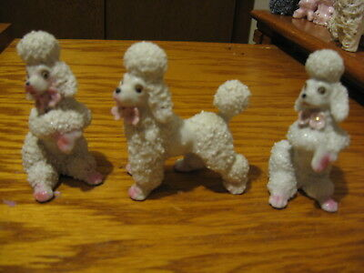 3 Spaghetti Poodles With Pink Roses and Gold Dots Excellent Condition
