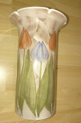 Jersey pottery small vase with tulip flowers pattern 16cm high
