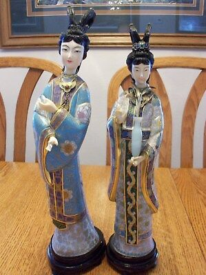 Pair Chinese Asian Cloisonne Geisha Lady Woman Doll Vase Statue Figure Figurines