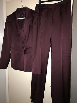 Stunning Aubergine Single Breasted Trouser Suit From Coast-Size 8-Ex Used Con