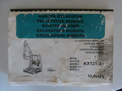 Kubota KX121-3 Excavator illustrated parts list/manual