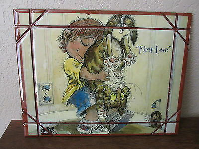 "Hand Crafted *First Love* Cat & Child Plaque/Picture -10"" x 13"""