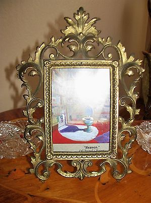 Antique Victorian / Nouveau Picture/Mirror Frame Cast Iron Ornate Footed Vanity