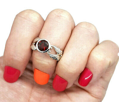Garnet Ring, Size 7 US, 925 Sterling Silver, Faceted Round Stone
