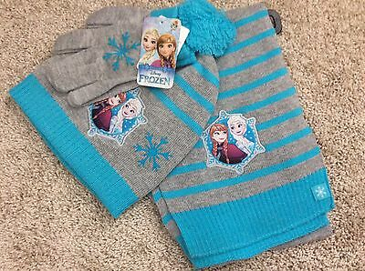 New girls one size 4-14 scarf, hat, gloves set Disney Frozen gray teal Anna Elsa
